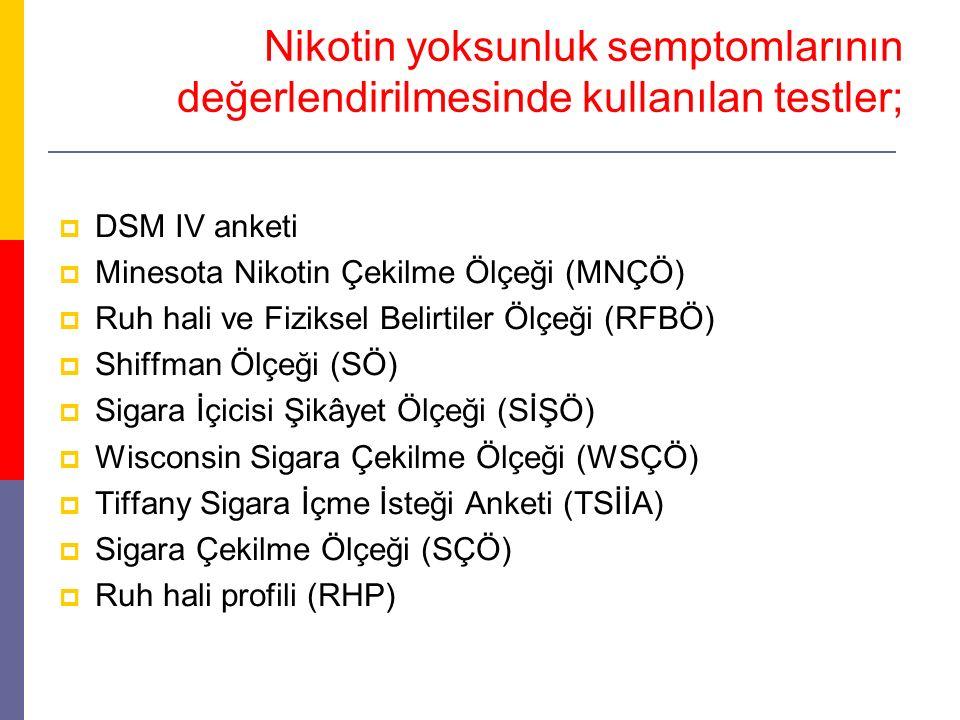 Nikotin yoksunluk semptomlarının değerlendirilmesinde kullanılan testler;