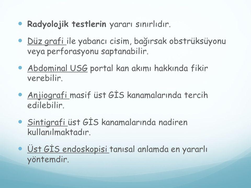 Radyolojik testlerin yararı sınırlıdır.