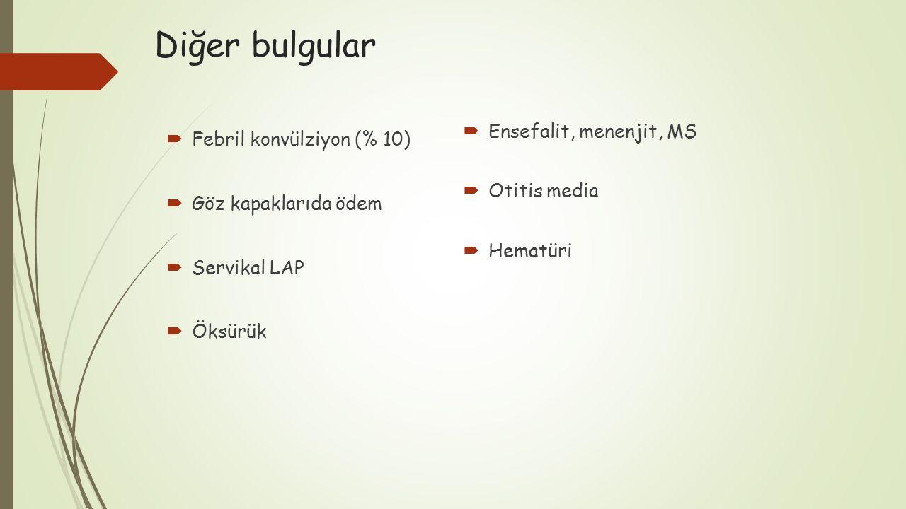 Diğer bulgular Ensefalit, menenjit, MS Febril konvülziyon (% 10)