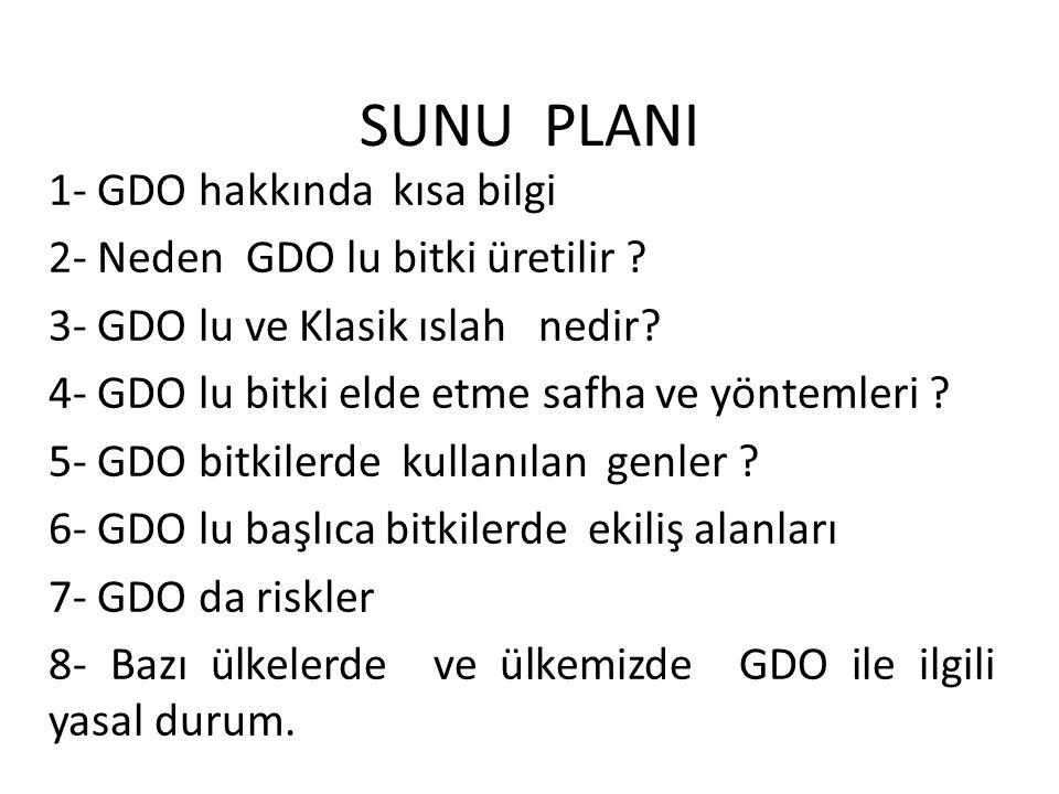 SUNU PLANI 1- GDO hakkında kısa bilgi 2- Neden GDO lu bitki üretilir