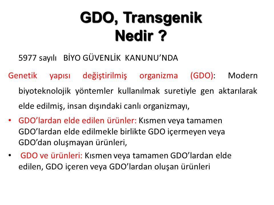 GDO, Transgenik Nedir 5977 sayılı BİYO GÜVENLİK KANUNU'NDA