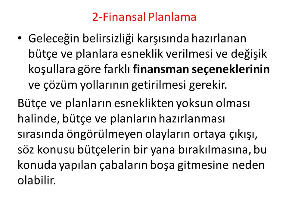 2-Finansal Planlama