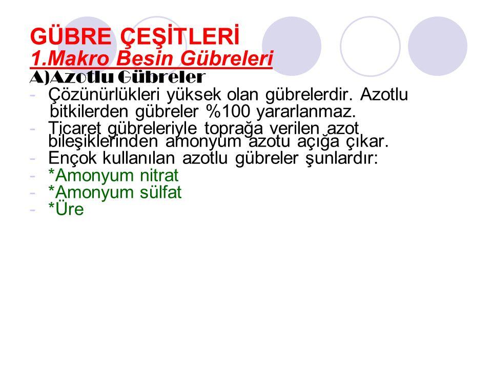 GÜBRE ÇEŞİTLERİ 1.Makro Besin Gübreleri A)Azotlu Gübreler