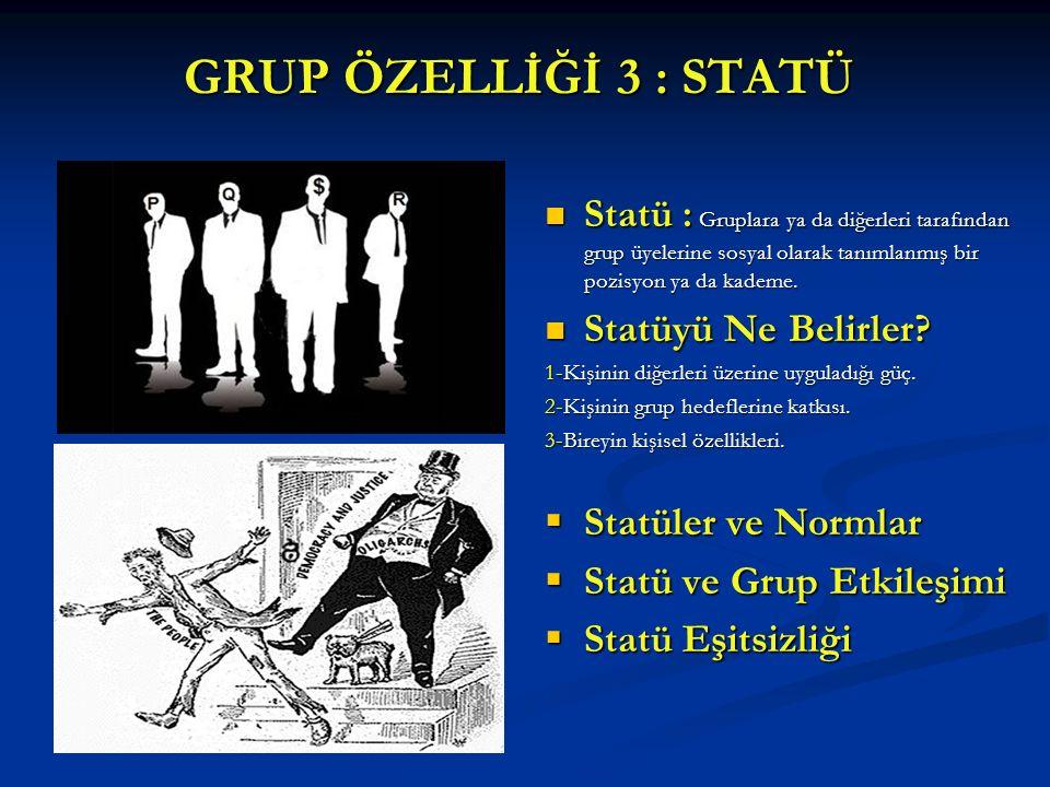 GRUP ÖZELLİĞİ 3 : STATÜ Statü : Gruplara ya da diğerleri tarafından grup üyelerine sosyal olarak tanımlanmış bir pozisyon ya da kademe.