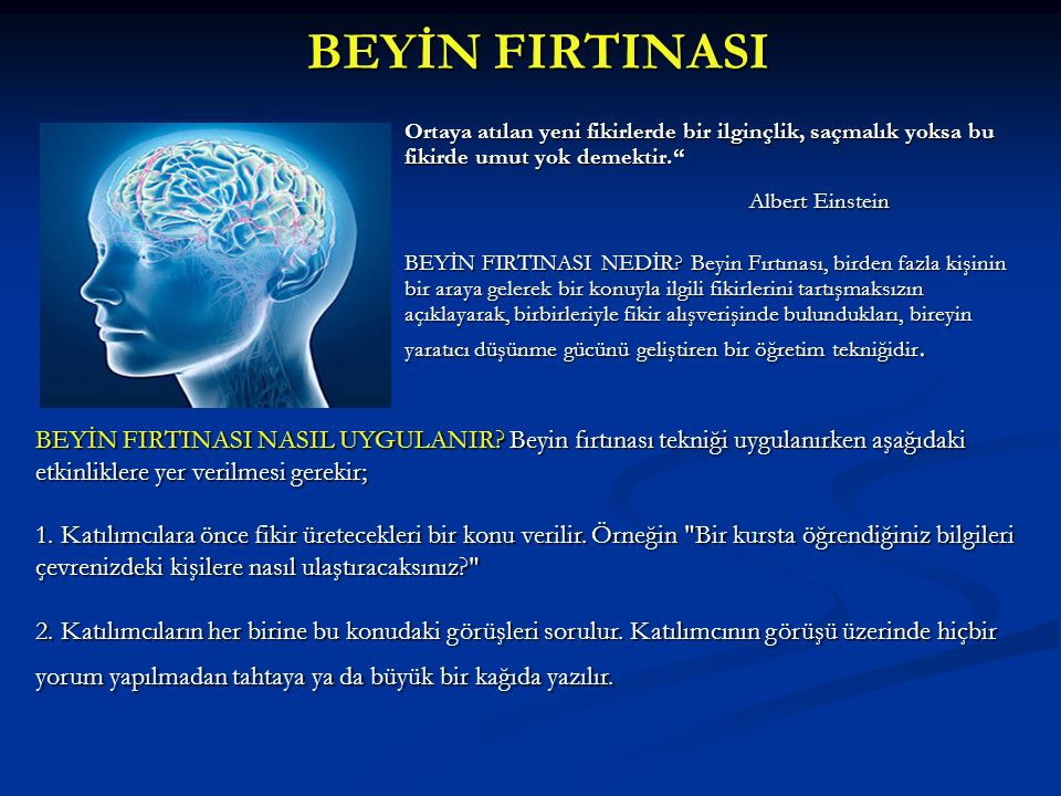 BEYİN FIRTINASI Albert Einstein