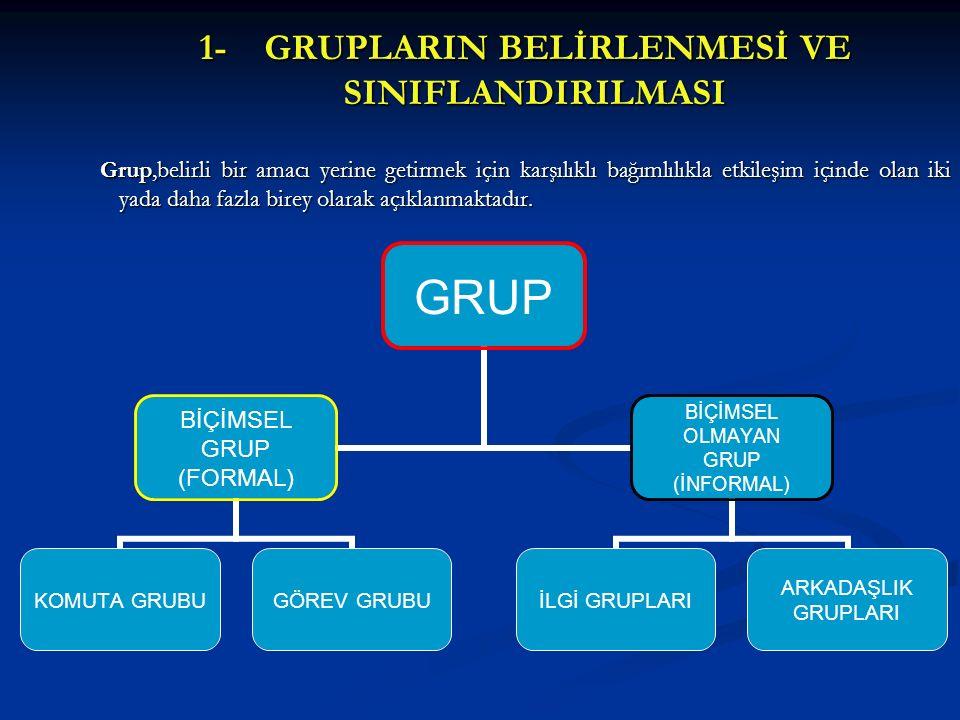 1- GRUPLARIN BELİRLENMESİ VE SINIFLANDIRILMASI