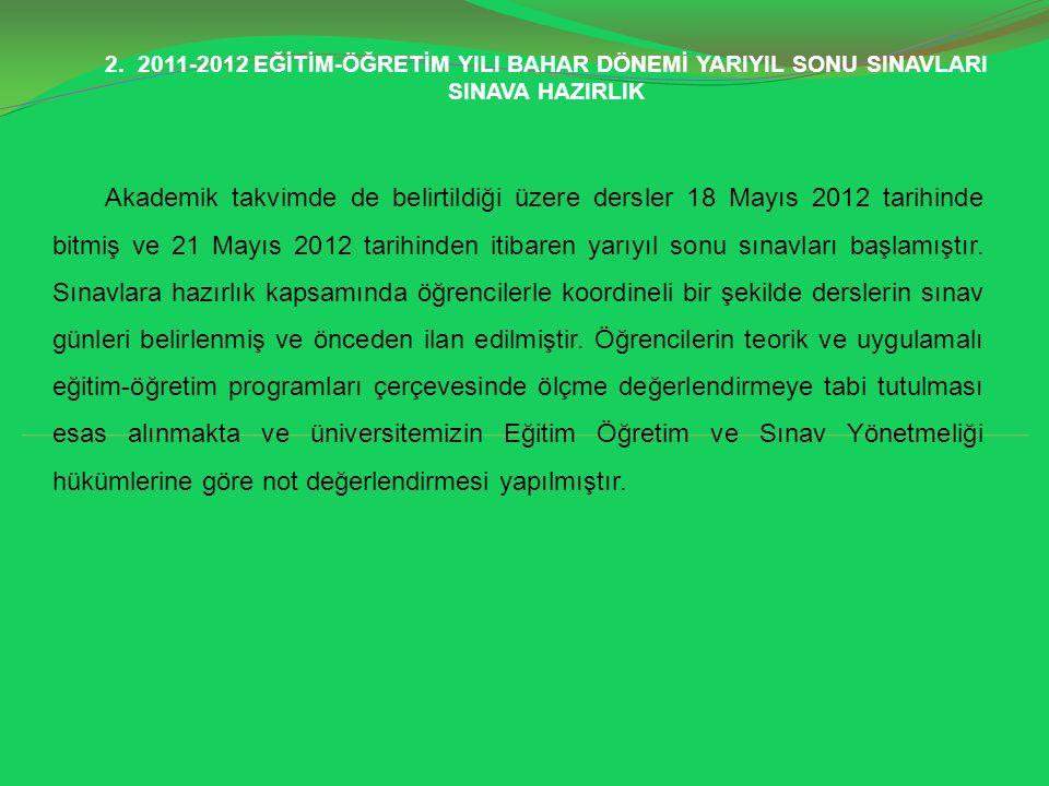 2. 2011-2012 EĞİTİM-ÖĞRETİM YILI BAHAR DÖNEMİ YARIYIL SONU SINAVLARI SINAVA HAZIRLIK