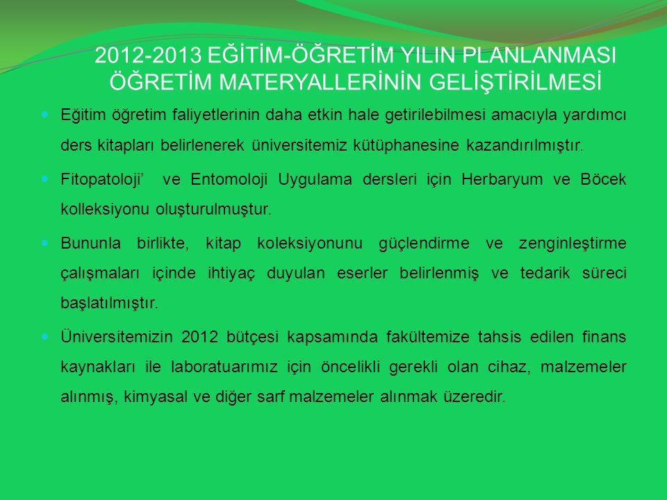 2012-2013 EĞİTİM-ÖĞRETİM YILIN PLANLANMASI ÖĞRETİM MATERYALLERİNİN GELİŞTİRİLMESİ