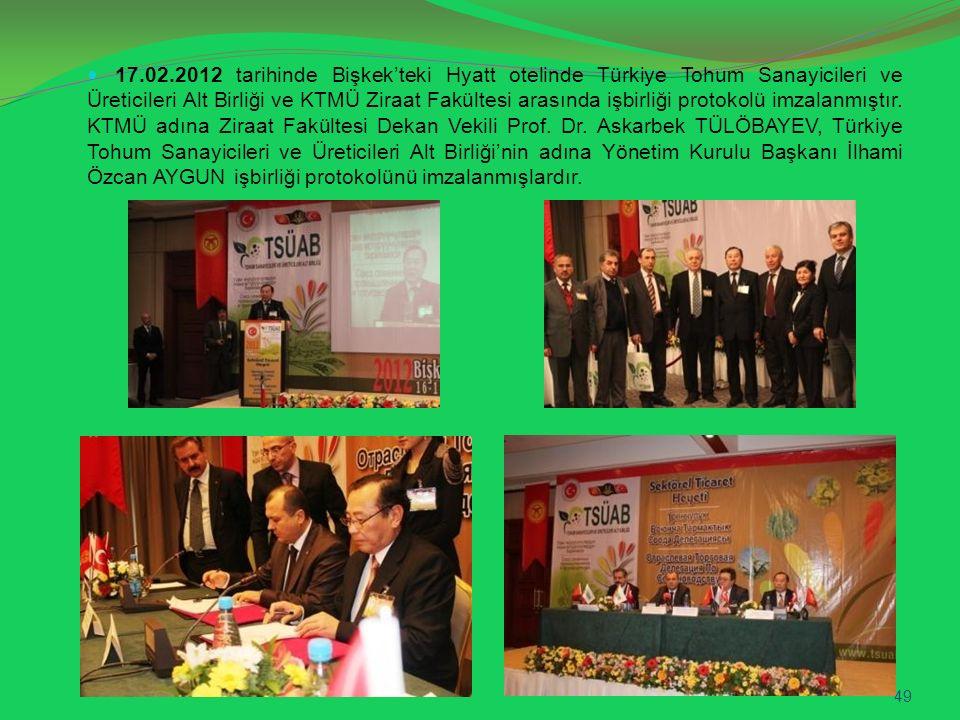 17.02.2012 tarihinde Bişkek'teki Hyatt otelinde Türkiye Tohum Sanayicileri ve Üreticileri Alt Birliği ve KTMÜ Ziraat Fakültesi arasında işbirliği protokolü imzalanmıştır.
