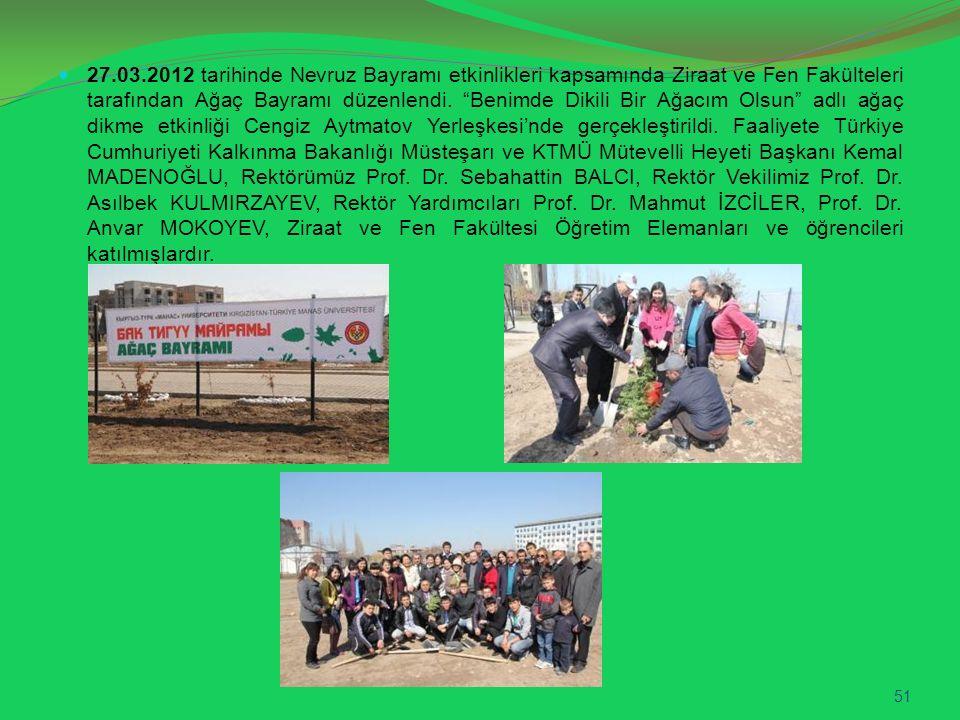 27.03.2012 tarihinde Nevruz Bayramı etkinlikleri kapsamında Ziraat ve Fen Fakülteleri tarafından Ağaç Bayramı düzenlendi.