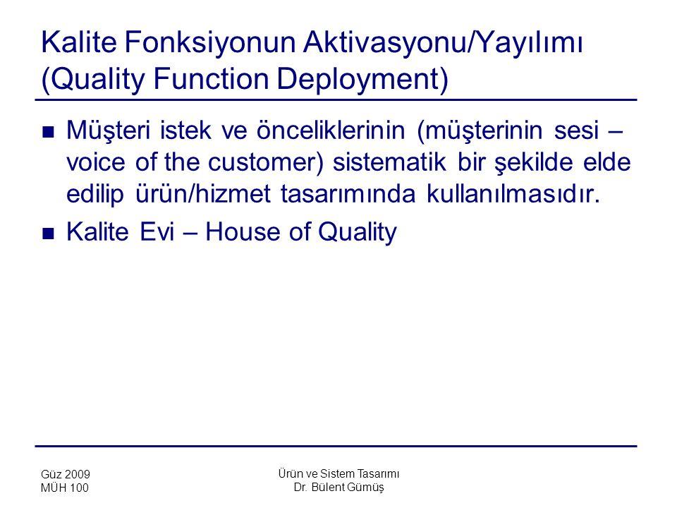 Kalite Fonksiyonun Aktivasyonu/Yayılımı (Quality Function Deployment)