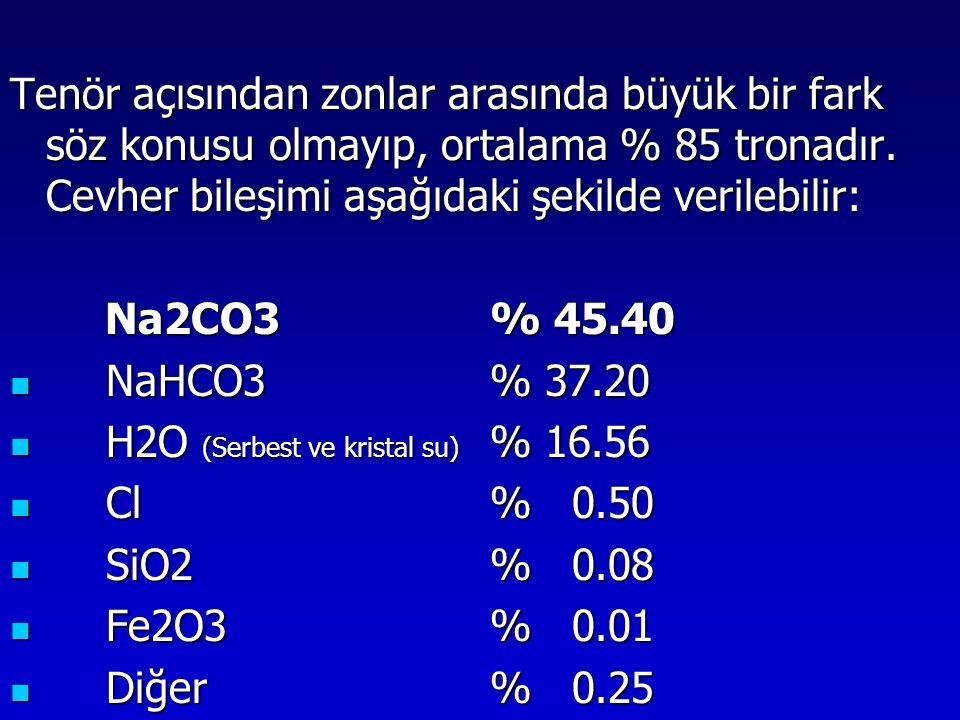 H2O (Serbest ve kristal su) % 16.56 Cl % 0.50 SiO2 % 0.08 Fe2O3 % 0.01