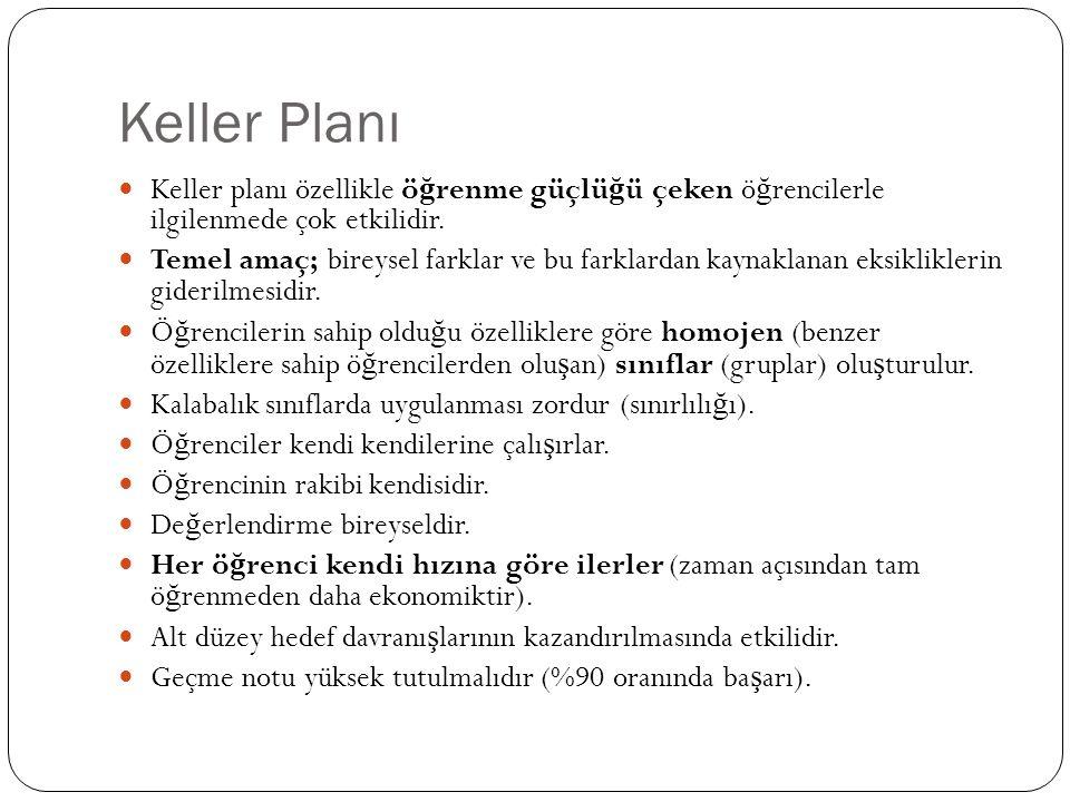 Keller Planı Keller planı özellikle öğrenme güçlüğü çeken öğrencilerle ilgilenmede çok etkilidir.