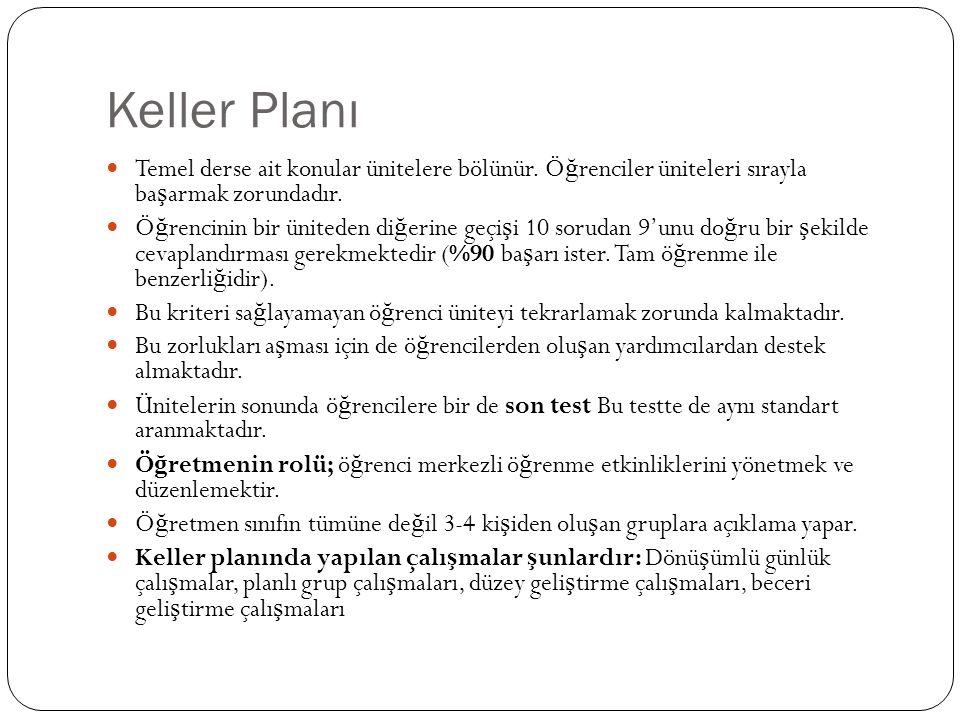 Keller Planı Temel derse ait konular ünitelere bölünür. Öğrenciler üniteleri sırayla başarmak zorundadır.
