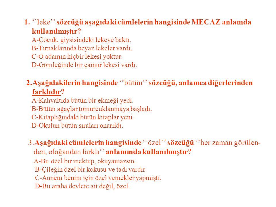 1. ''leke'' sözcüğü aşağıdaki cümlelerin hangisinde MECAZ anlamda kullanılmıştır.