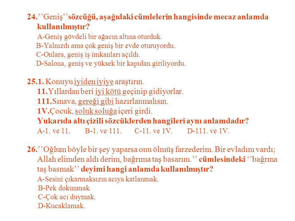 24.''Geniş''sözcüğü, aşağıdaki cümlelerin hangisinde mecaz anlamda kullanılmıştır.