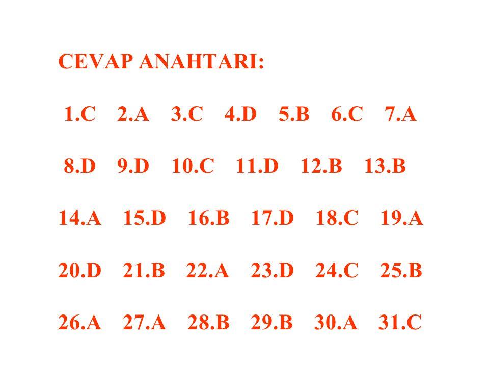 CEVAP ANAHTARI: 1. C 2. A 3. C 4. D 5. B 6. C 7. A 8. D 9. D 10. C 11