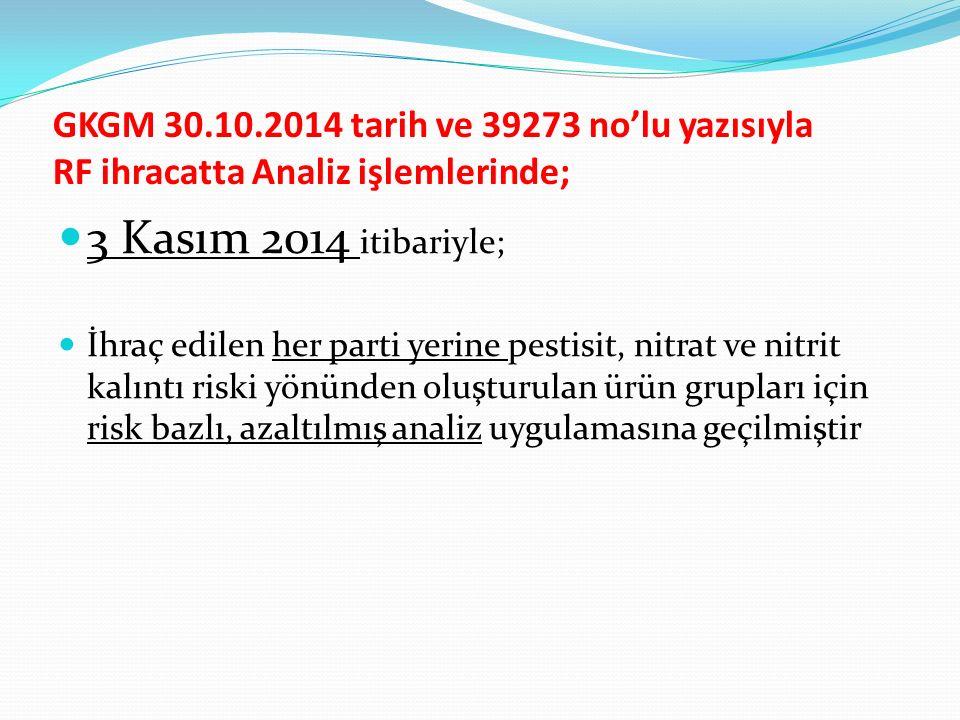 GKGM 30.10.2014 tarih ve 39273 no'lu yazısıyla RF ihracatta Analiz işlemlerinde;