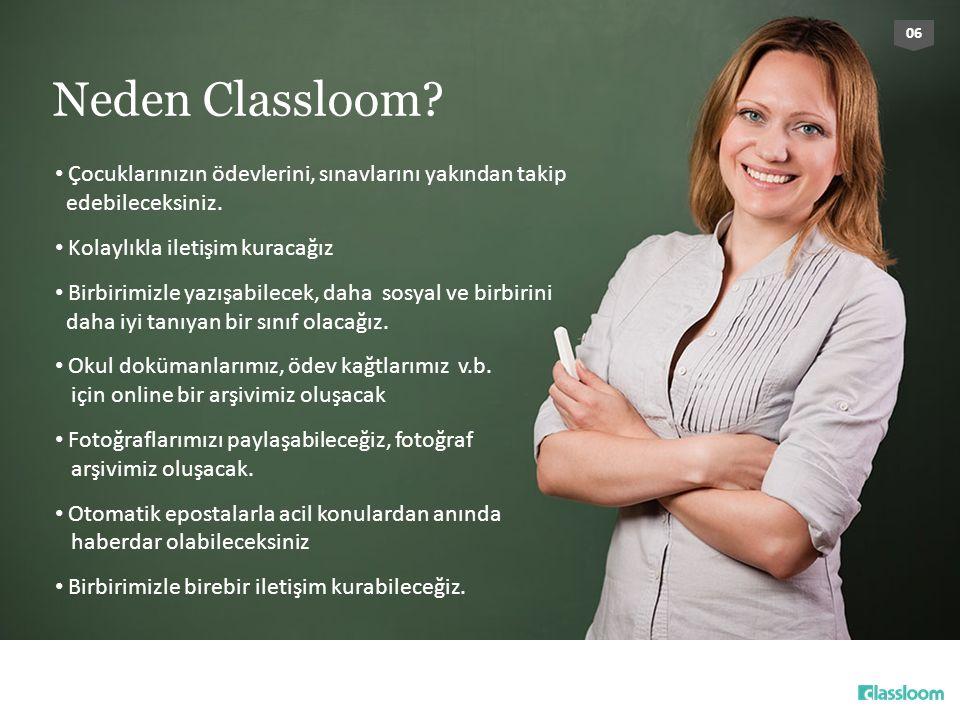 06 Neden Classloom Çocuklarınızın ödevlerini, sınavlarını yakından takip edebileceksiniz. Kolaylıkla iletişim kuracağız.