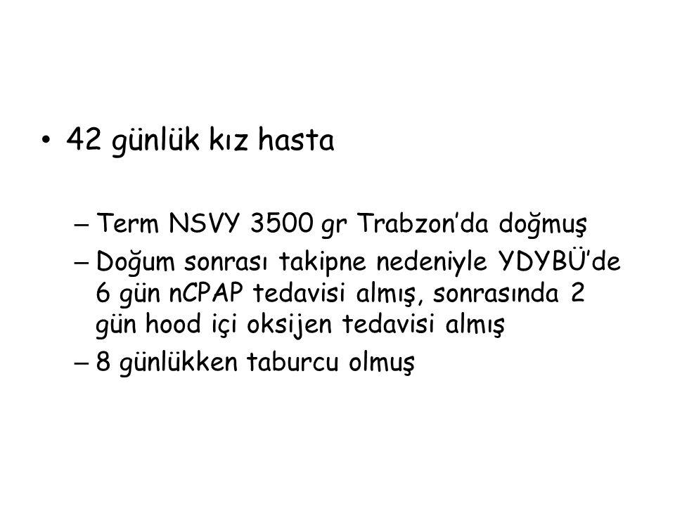 42 günlük kız hasta Term NSVY 3500 gr Trabzon'da doğmuş