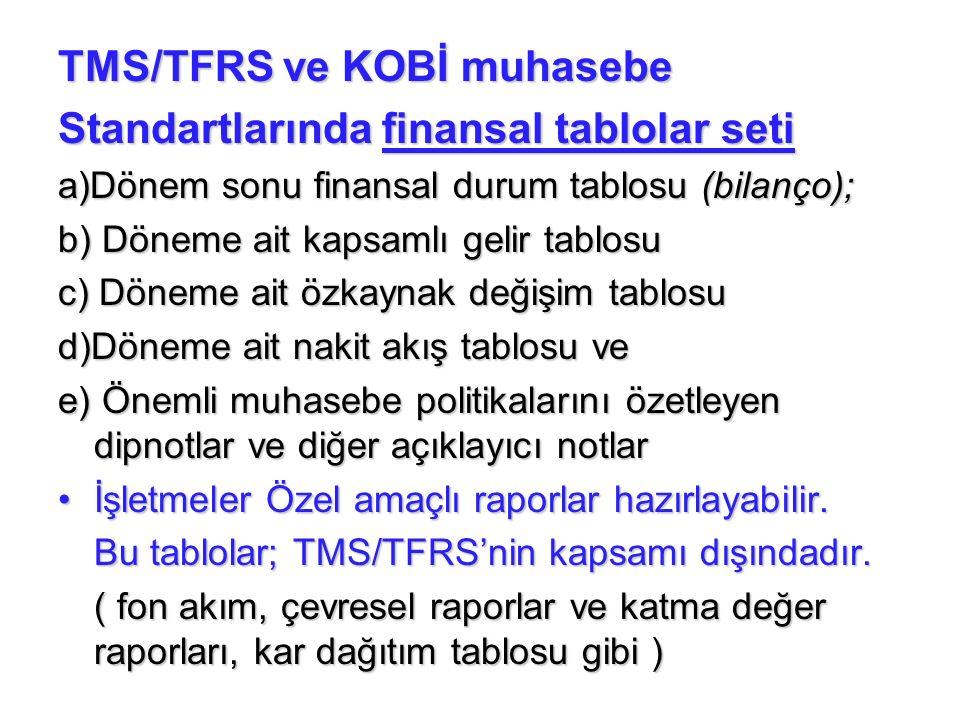 TMS/TFRS ve KOBİ muhasebe Standartlarında finansal tablolar seti