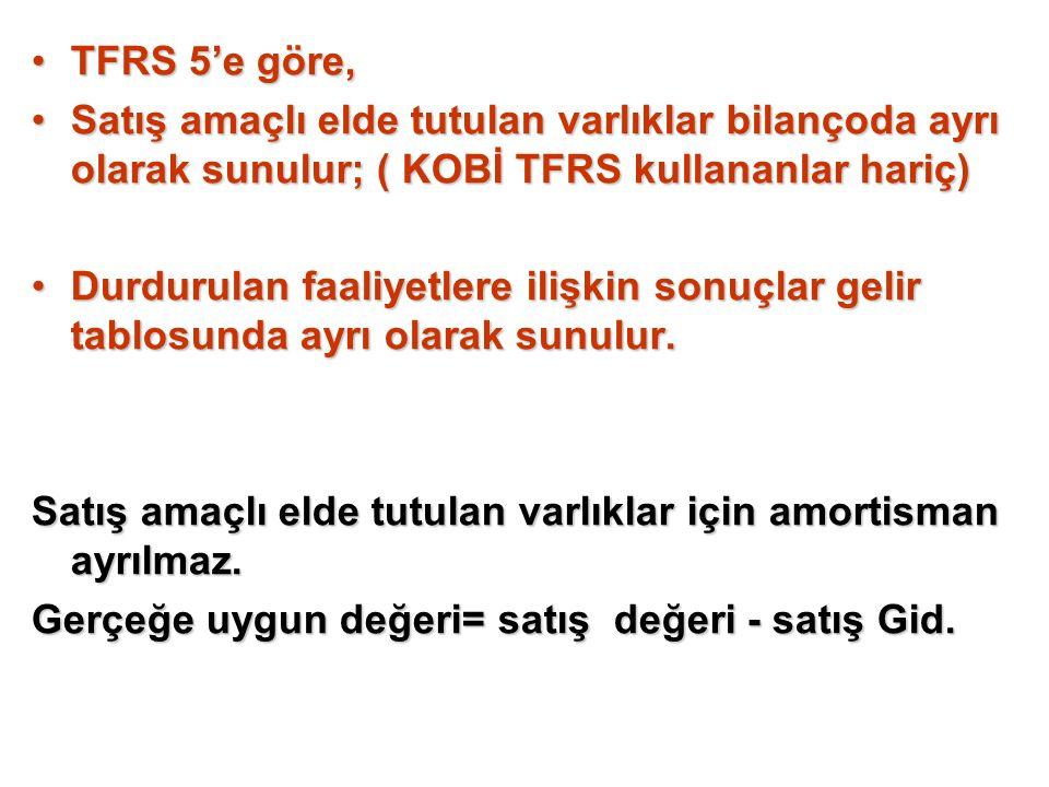 TFRS 5'e göre, Satış amaçlı elde tutulan varlıklar bilançoda ayrı olarak sunulur; ( KOBİ TFRS kullananlar hariç)