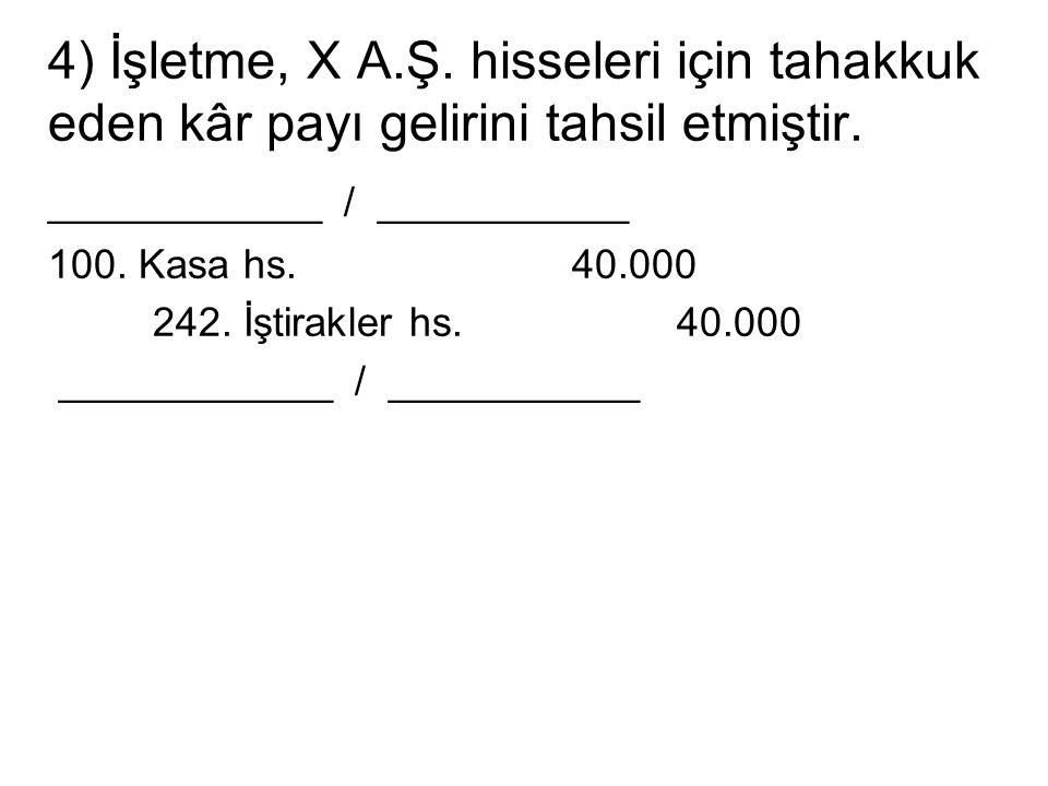 4) İşletme, X A.Ş. hisseleri için tahakkuk eden kâr payı gelirini tahsil etmiştir.