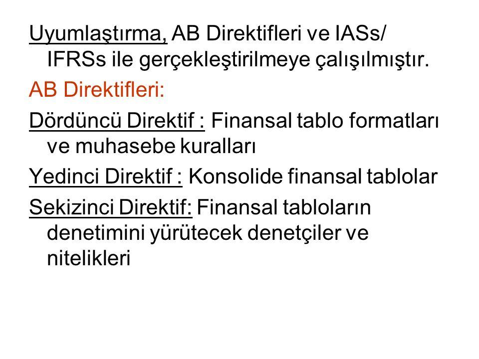 Uyumlaştırma, AB Direktifleri ve IASs/ IFRSs ile gerçekleştirilmeye çalışılmıştır.