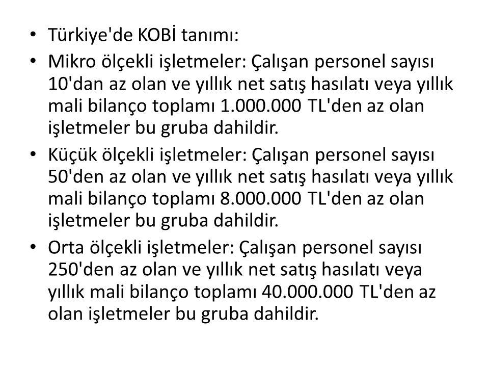 Türkiye de KOBİ tanımı: