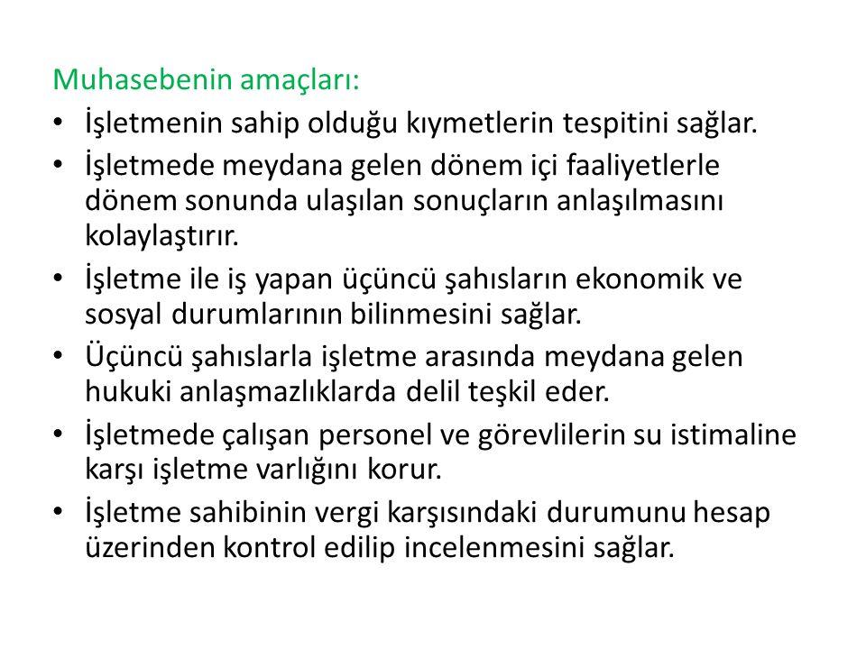 Muhasebenin amaçları: