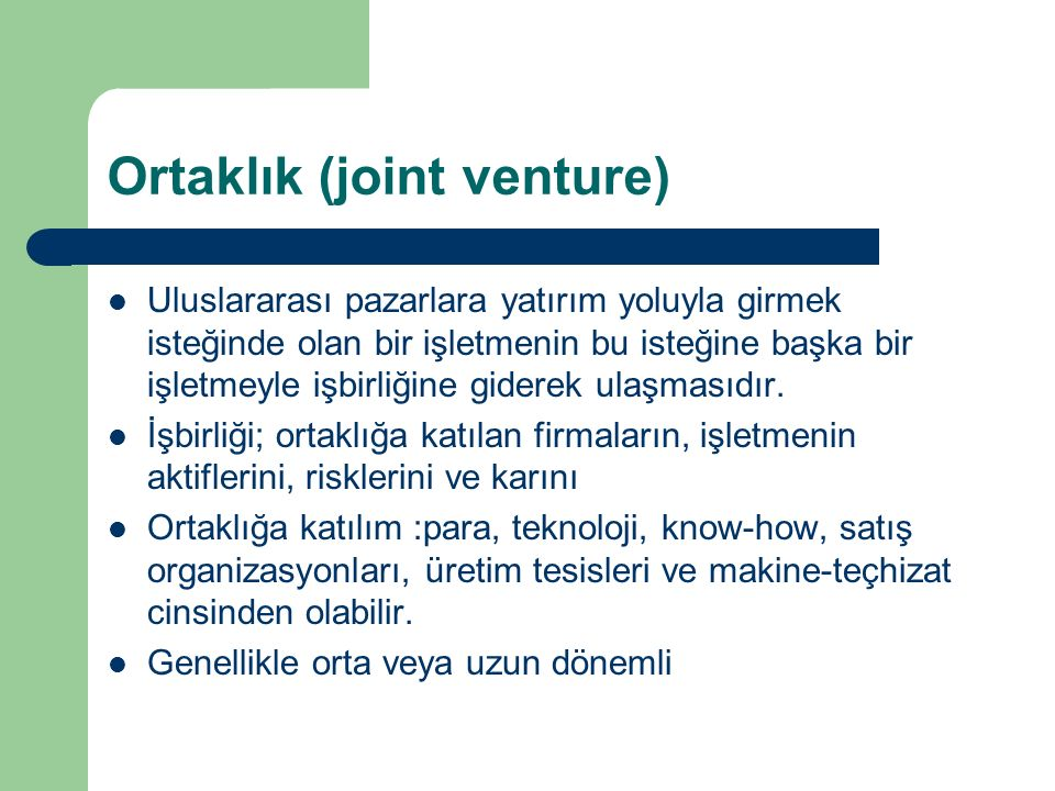 Ortaklık (joint venture)