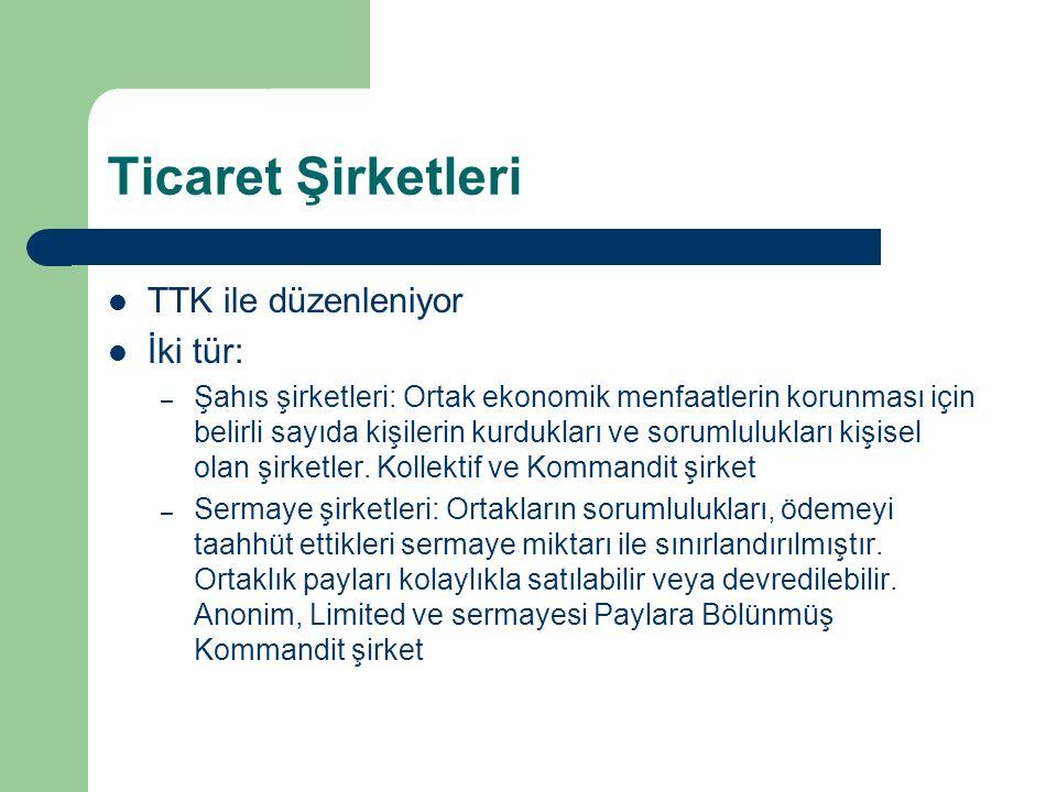 Ticaret Şirketleri TTK ile düzenleniyor İki tür: