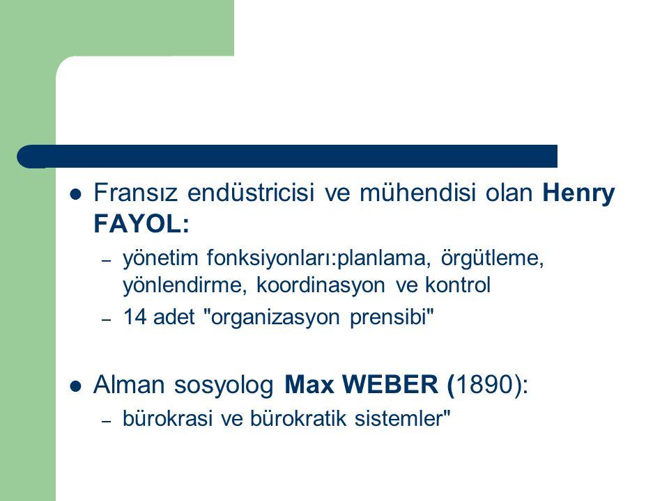 Fransız endüstricisi ve mühendisi olan Henry FAYOL:
