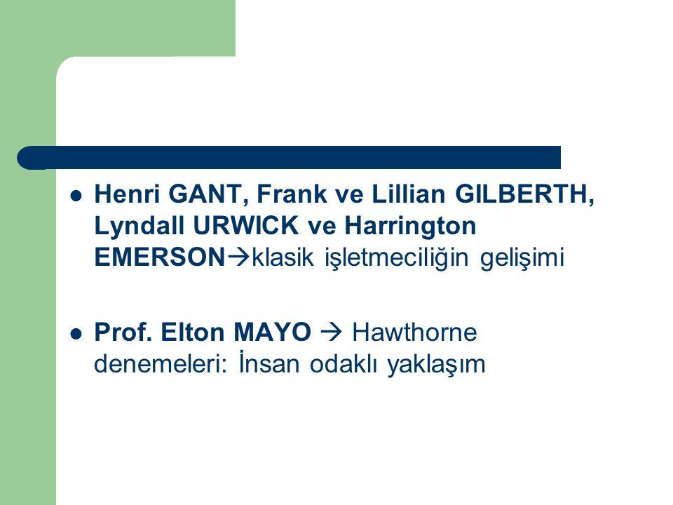 Henri GANT, Frank ve Lillian GILBERTH, Lyndall URWICK ve Harrington EMERSONklasik işletmeciliğin gelişimi