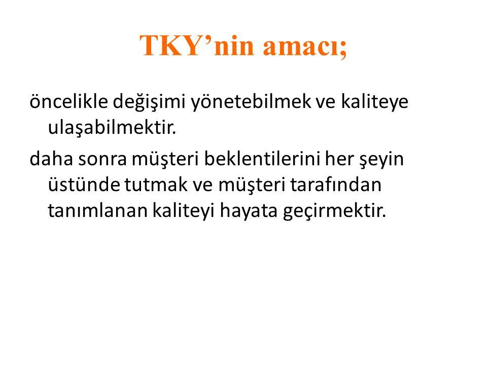 TKY'nin amacı; öncelikle değişimi yönetebilmek ve kaliteye ulaşabilmektir.