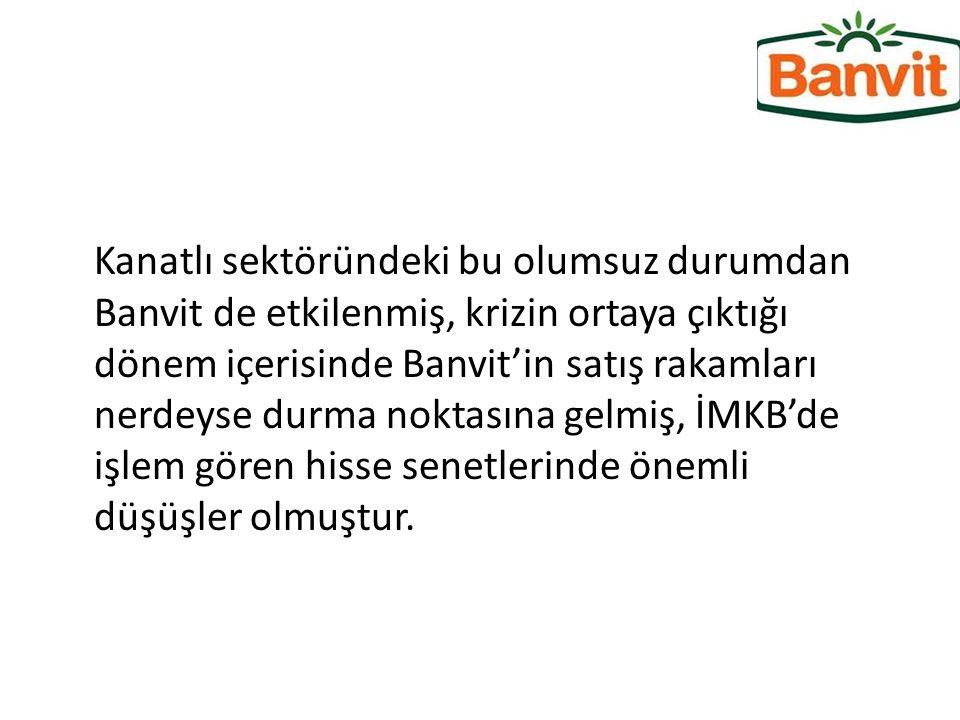 Kanatlı sektöründeki bu olumsuz durumdan Banvit de etkilenmiş, krizin ortaya çıktığı dönem içerisinde Banvit'in satış rakamları nerdeyse durma noktasına gelmiş, İMKB'de işlem gören hisse senetlerinde önemli düşüşler olmuştur.
