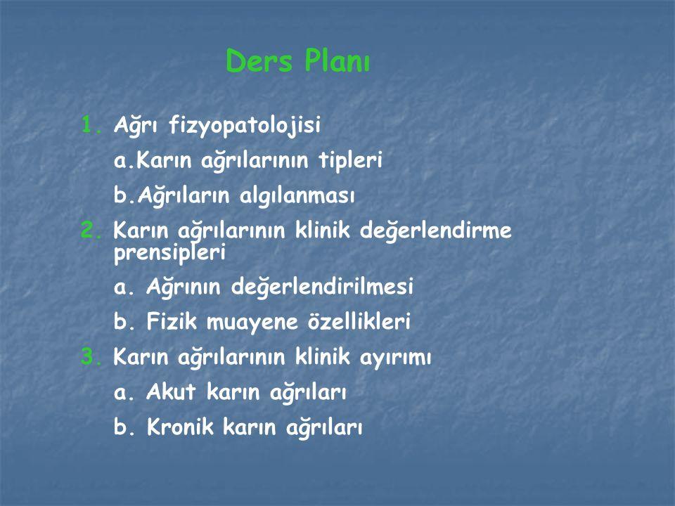 Ders Planı 1. Ağrı fizyopatolojisi a.Karın ağrılarının tipleri