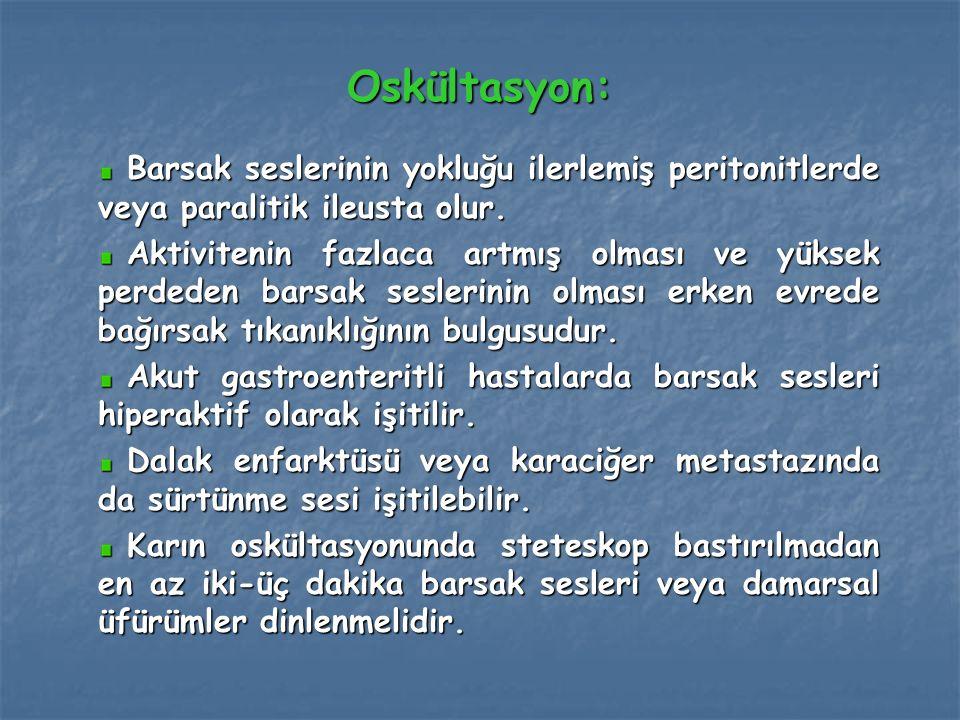Oskültasyon: Barsak seslerinin yokluğu ilerlemiş peritonitlerde veya paralitik ileusta olur.