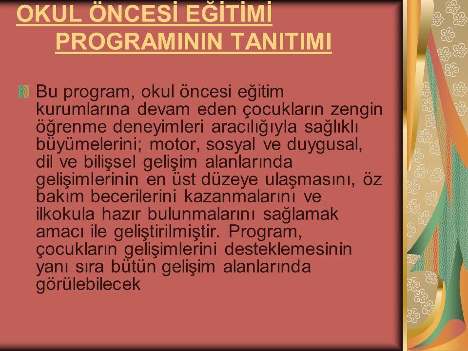 OKUL ÖNCESİ EĞİTİMİ PROGRAMININ TANITIMI