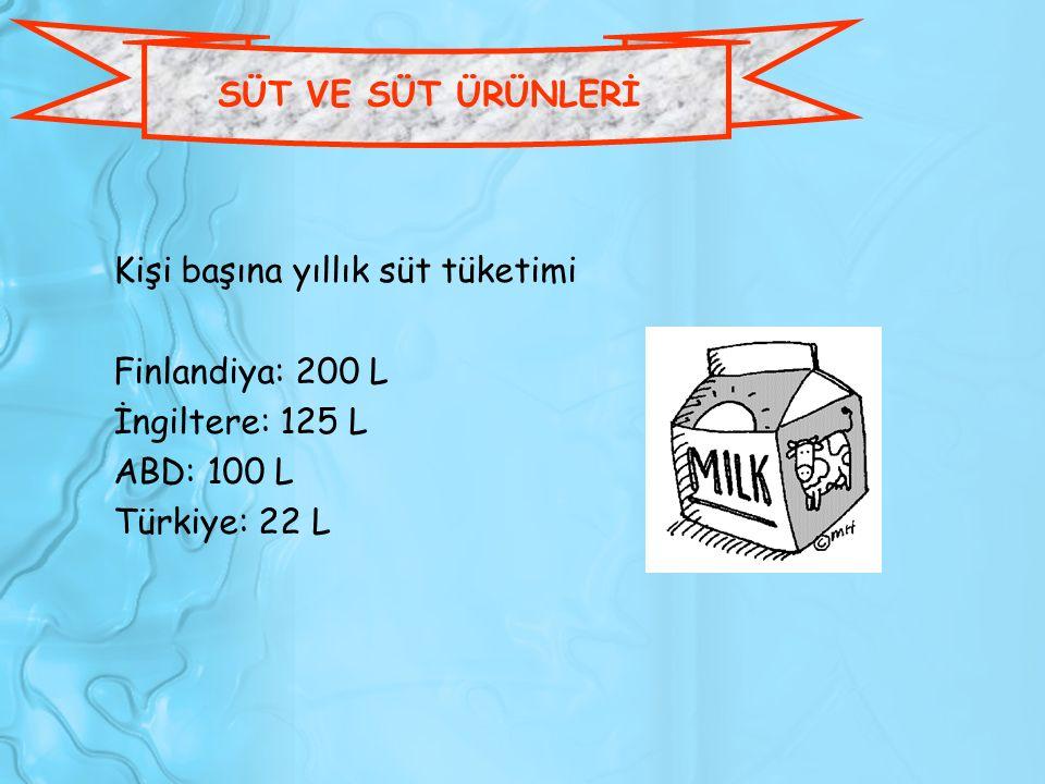SÜT VE SÜT ÜRÜNLERİ Kişi başına yıllık süt tüketimi. Finlandiya: 200 L. İngiltere: 125 L. ABD: 100 L.