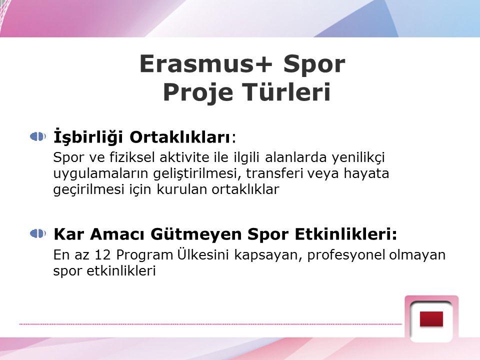 Erasmus+ Spor Proje Türleri İşbirliği Ortaklıkları: