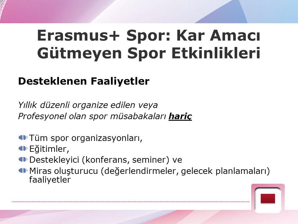 Erasmus+ Spor: Kar Amacı Gütmeyen Spor Etkinlikleri