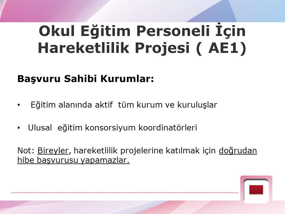 Okul Eğitim Personeli İçin Hareketlilik Projesi ( AE1)