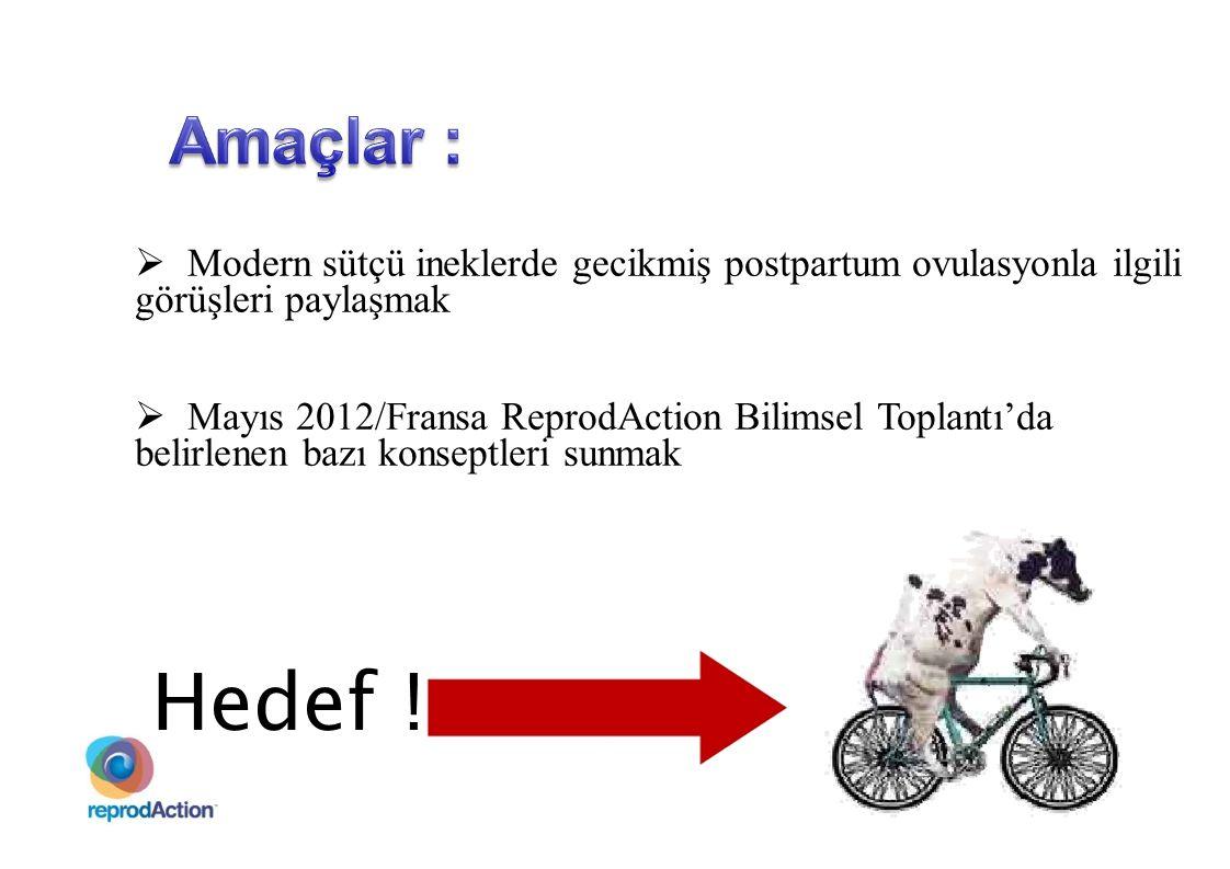 Amaçlar : Modern sütçü ineklerde gecikmiş postpartum ovulasyonla ilgili. görüşleri paylaşmak. Mayıs 2012/Fransa ReprodAction Bilimsel Toplantı'da.