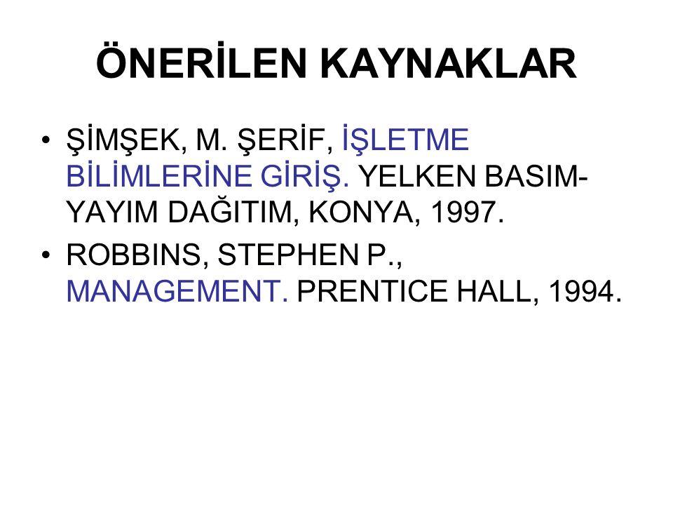 ÖNERİLEN KAYNAKLAR ŞİMŞEK, M. ŞERİF, İŞLETME BİLİMLERİNE GİRİŞ. YELKEN BASIM-YAYIM DAĞITIM, KONYA, 1997.