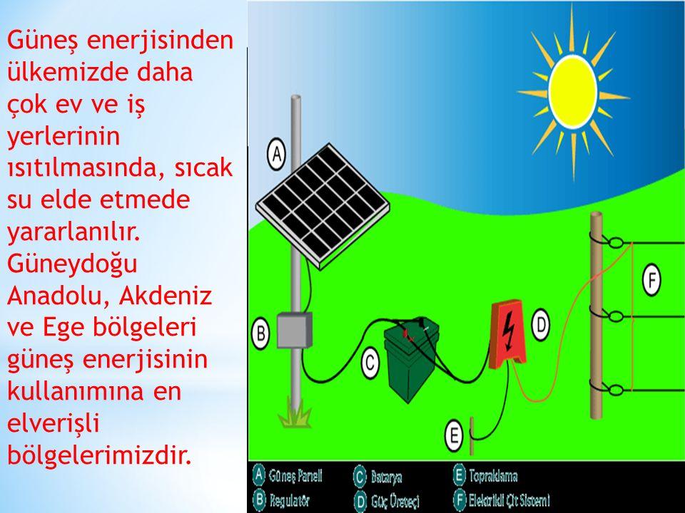 Güneş enerjisinden ülkemizde daha çok ev ve iş yerlerinin ısıtılmasında, sıcak su elde etmede yararlanılır.