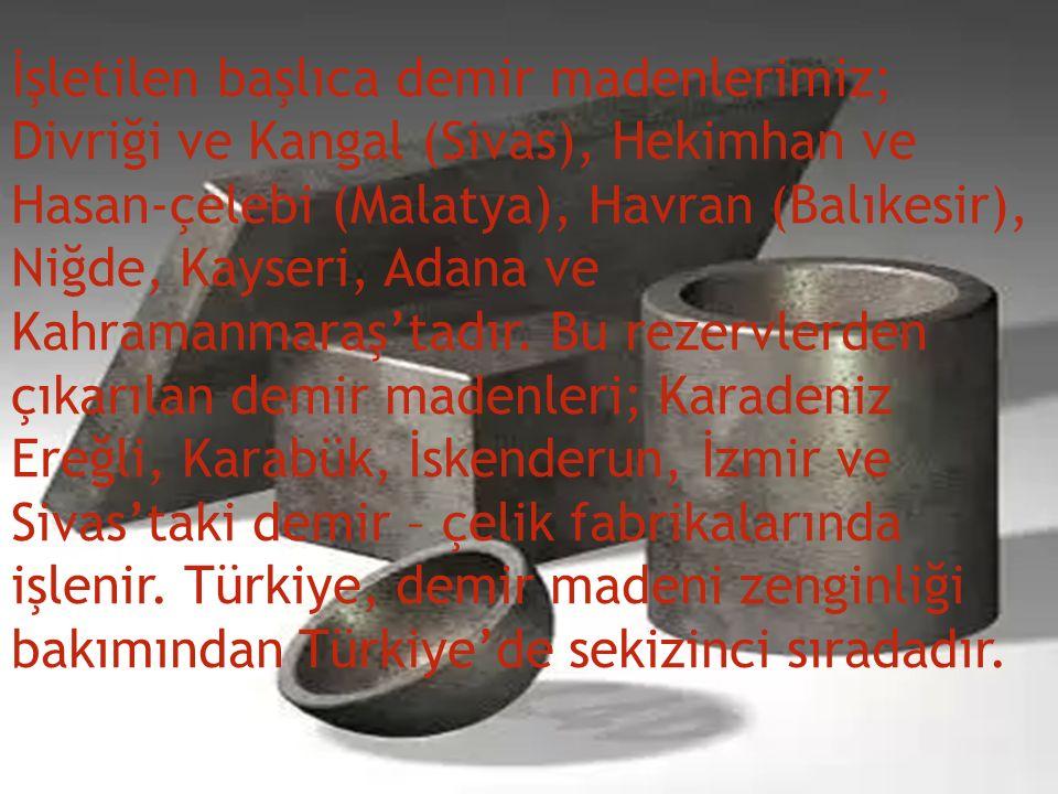 İşletilen başlıca demir madenlerimiz; Divriği ve Kangal (Sivas), Hekimhan ve Hasan-çelebi (Malatya), Havran (Balıkesir), Niğde, Kayseri, Adana ve Kahramanmaraş'tadır.