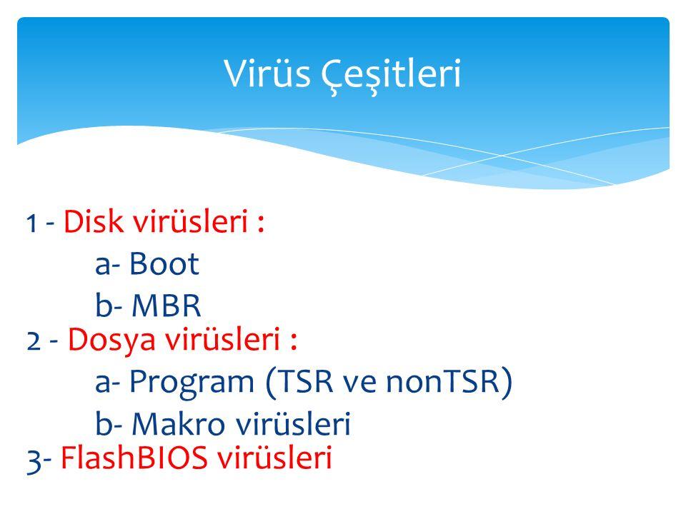 Virüs Çeşitleri 1 - Disk virüsleri : a- Boot b- MBR 2 - Dosya virüsleri : a- Program (TSR ve nonTSR) b- Makro virüsleri 3- FlashBIOS virüsleri