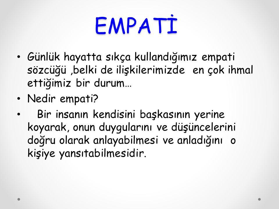 EMPATİ Günlük hayatta sıkça kullandığımız empati sözcüğü ,belki de ilişkilerimizde en çok ihmal ettiğimiz bir durum…