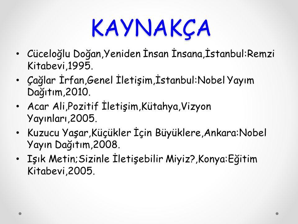 KAYNAKÇA Cüceloğlu Doğan,Yeniden İnsan İnsana,İstanbul:Remzi Kitabevi,1995. Çağlar İrfan,Genel İletişim,İstanbul:Nobel Yayım Dağıtım,2010.